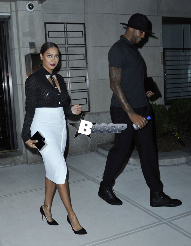 Lala Anthony and Carmelo Anthony out and about in New York City